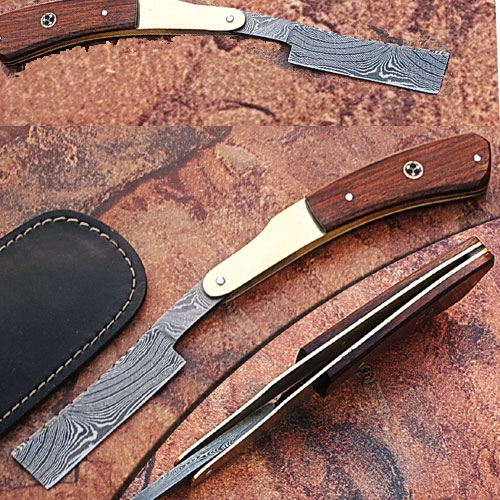 Custom Made Damascus Steel Straight Razor w/ Wood & Brass Handle