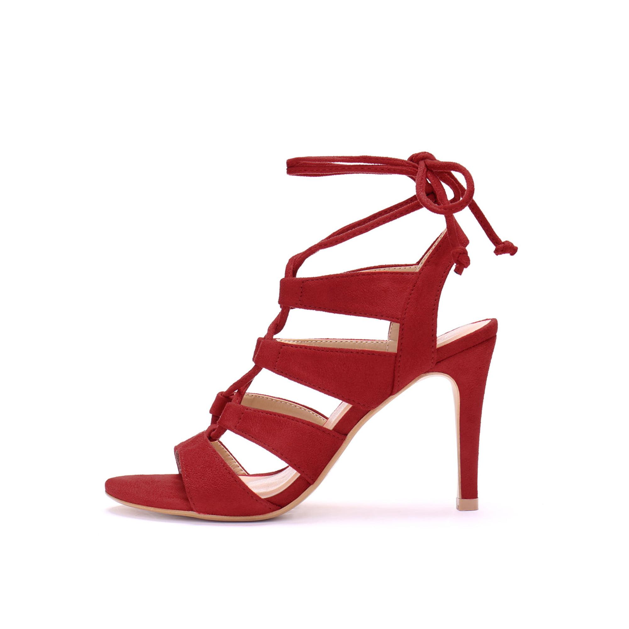 23b18382358 Unique Bargains Women's Stiletto Heel Open Toe Cutout Lace Up Sandals Red  (Size 5.5)