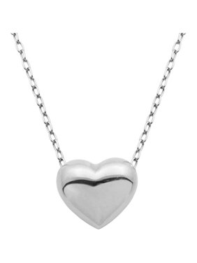 4369eafd48f4b Product Image Sterling Silver Puffed Heart Pendant Necklace on Cable Chain