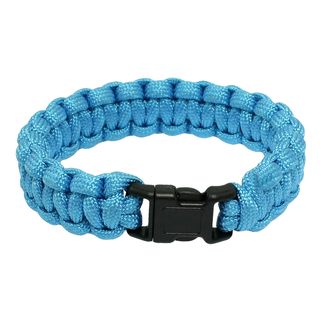 "9"" Girth Quick Release Buckle Cyan Survival Para Cord Bracelet 220Lbs"