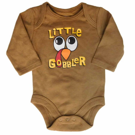 Infant Boys Thanksgiving Turkey Bodysuit Little Gobbler Holiday Creeper