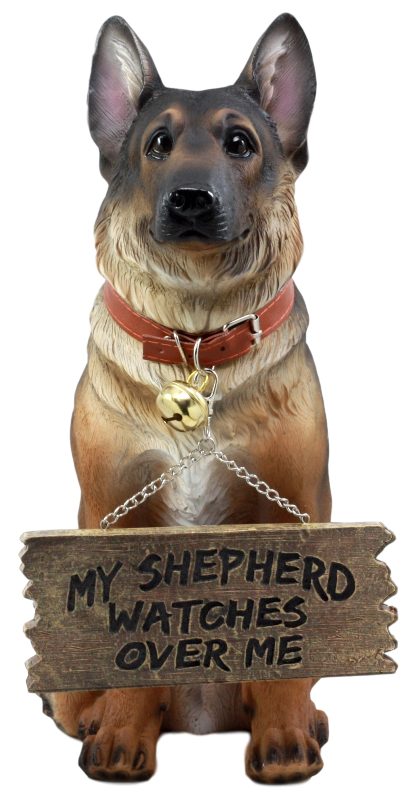 Ebros Old Faithful German Shepherd Dog Statue With Jingle Collar and Greeter Sign Patio Welcome Decor Sculpture by
