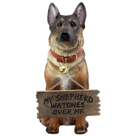 Ebros Old Faithful German Shepherd Dog Statue With Jingle Collar and Greeter Sign Patio Welcome Decor Sculpture (Shepherd Statue)