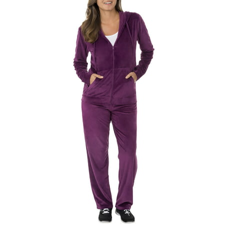 65a3179e31b3f Danskin Now - Women's Velour Hoodie and Pant Tracksuit - Walmart.com