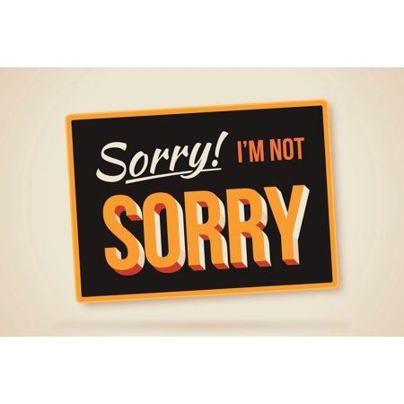 Sorry Im Not Sorry Humorous Sign Art Print Poster 18X12 Inch