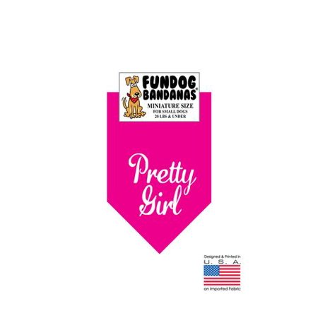 MINI Fun Dog Bandana - Pretty Girl - Taille miniature pour petits chiens de moins de 20 lbs, écharpe animal rose chaud