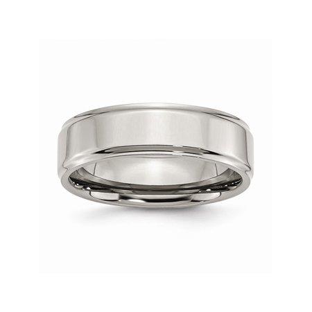 - Mens Titanium Ridged Edge 7mm Polished Wedding Band Ring Size 13