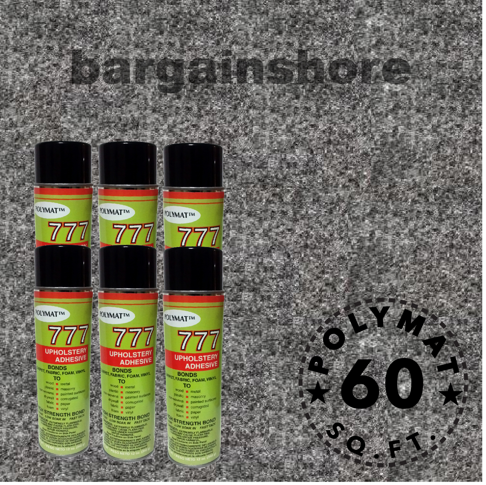 Polymat 16FT x 3.75FT +6 Cans 777 Fabric Spray Glue Charcoal basement wall cubical bench covering carpet…