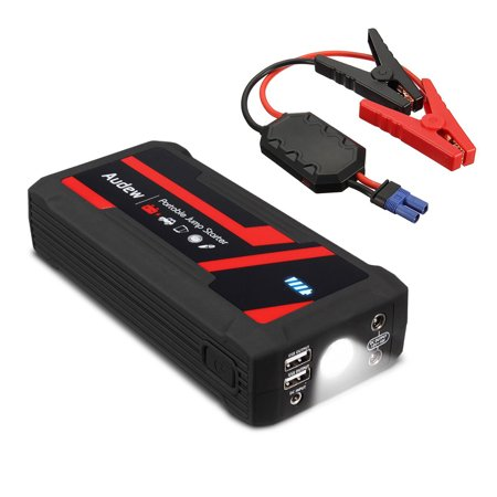 Audew Portable Car Jump Starter 800A Max 16800mAh Auto Battery Booster Car Jumper (Up to 8L Gas or 6L Diesels Engine) Power Pack Quick Charger for Phone Camera with LED