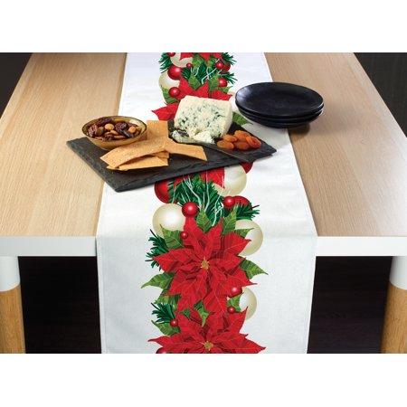 Christmas Poinsettia Table Runner 12