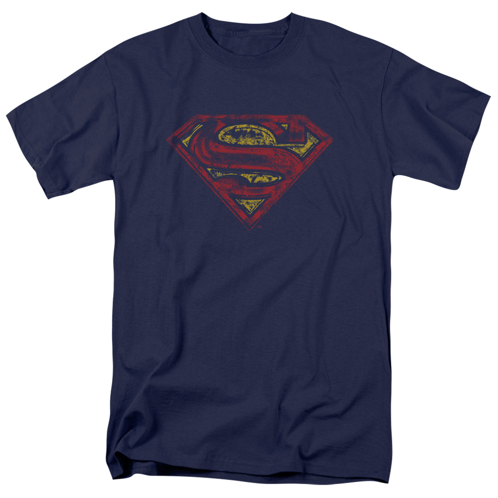 SUPERMAN/S SHIELD ROUGH-S/S ADULT 18/1-NAVY-3X