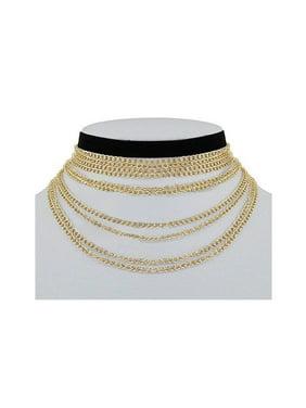 5d80a9381b Product Image Womens Layered Thin Chain W  Plain Fashion Casual Choker  NCS-30107GS. GenX