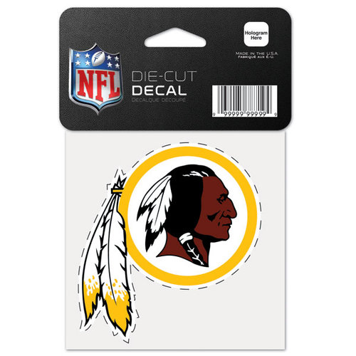Washington Redskins Official NFL 4 inch x 4 inch  Die Cut Car Decal by Wincraft
