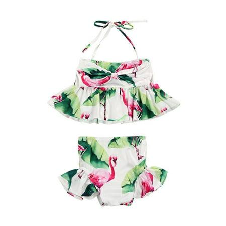 Flroal Infant Baby Girl Summer Beachwear Swimwear Swimsuit Bikini Set Bathing Suit