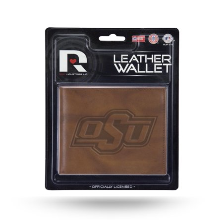 Oklahoma State Cowboys NCAA Embossed Brown Leather Billfold - Oklahoma Leather Checkbook Cover