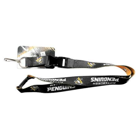 Aminco NHL Pittsburgh Penguins Clip Lanyard Keychain Id Ticket - Black