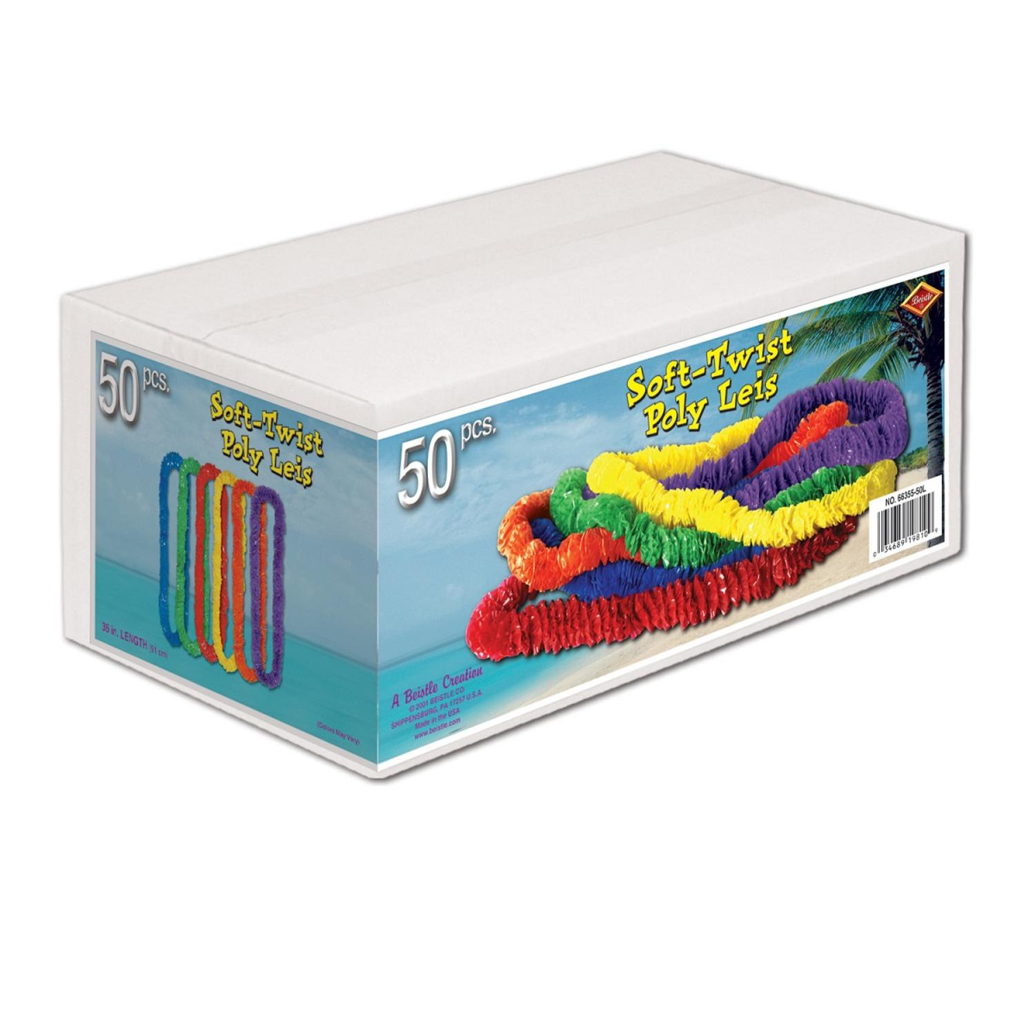 """Club Pack of 50 Multi-Colored Soft-Twist Boxed Hawaiian Party Lei Necklaces 36"""""""
