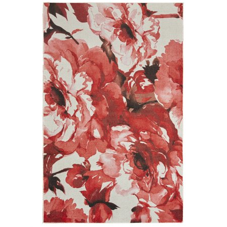 Crimson Blossom (Mohawk Prismatic Area Rugs - Z0210 A407 Contemporary Crimson Buds Blossoms Stems Leaves Rug)