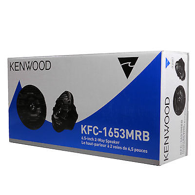 "Kenwood KFC-1653MRB 300W 6.5"" 6-1/2"" 2-Way Marine Boat Audio Speakers 6.5"" Black"