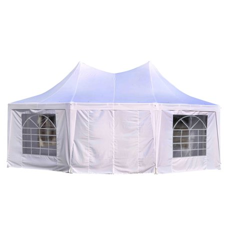 Outsunny Large Octagon Wall Party Gazebo Canopy Tent White