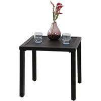 MF Studio Indoor Outdoor Small Metal Square Side/End Table, Patio Coffee Bistro Table, Black