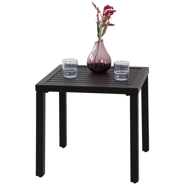 MF Studio Indoor Outdoor Small Metal Square Side/End Table, Patio Coffee Bistro Table, Black