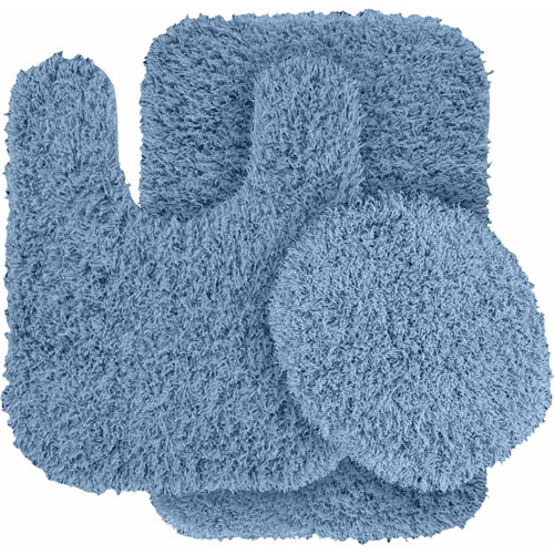 Jazz Shaggy Nylon 3-Piece Washable Bathroom Rug Set