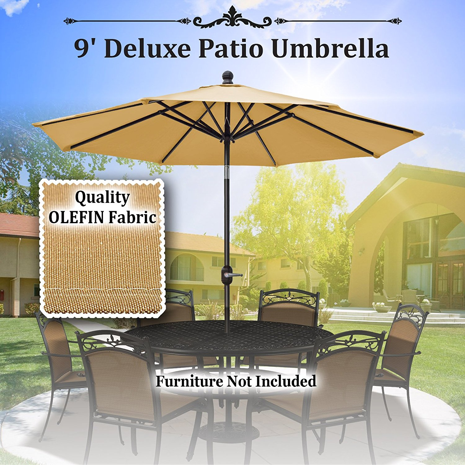 Sunrise 9' Outdoor Table 8 Aluminum Ribs, Patio Umbrella with Auto Tilt and Crank (Beige)