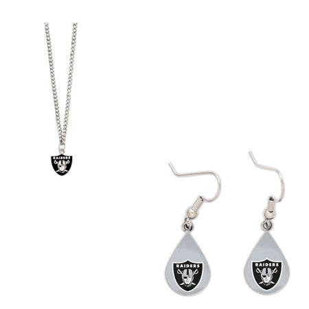 Bundle: Oakland Raiders Logo Necklace and Teardrop - Raiders Necklace