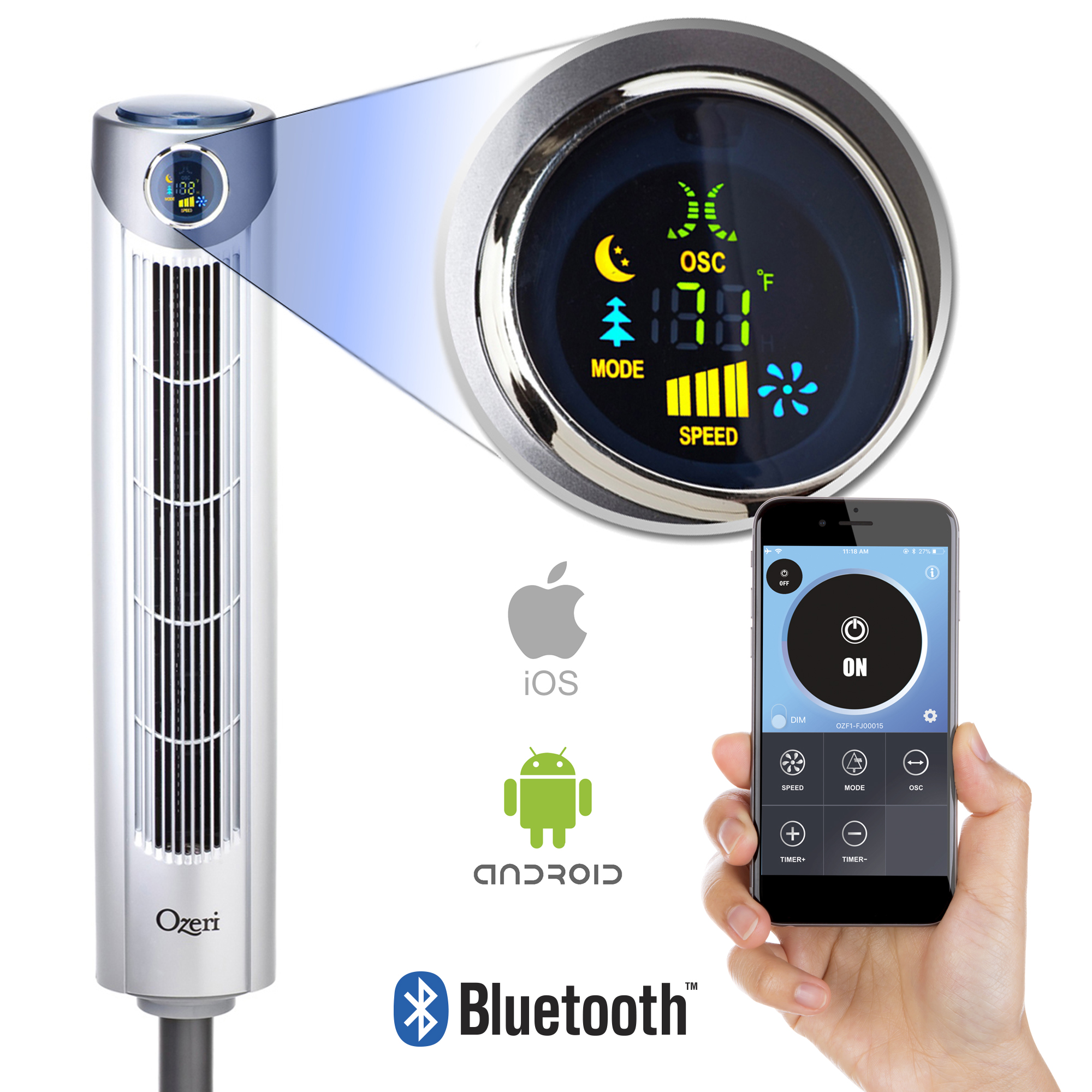 """Ozeri Ultra 42"""" Oscillating Tower Fan, with Bluetooth and Noise Reduction Technology"""