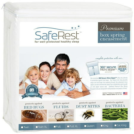 SafeRest Premium Box Spring Encasement - 100% Waterproof, Bed Bug Proof, Hypoallergenic (Multiple Sizes) - 360 Secure Micro Zipper - 10-Year Warranty ()