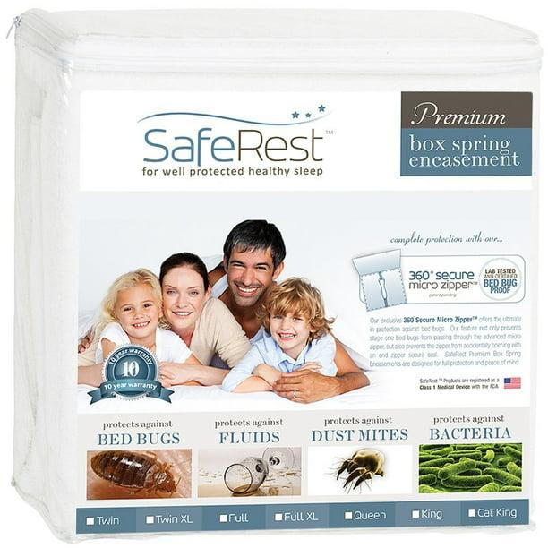 Saferest Premium Box Spring Encasement 100 Waterproof Bed Bug Proof Hypoallergenic Multiple Sizes 360 Secure Micro Zipper 10 Year Warranty Walmart Com Walmart Com