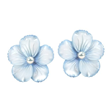 Baby Blue Mother of Pearl Flower Sterling Silver Post Earrings