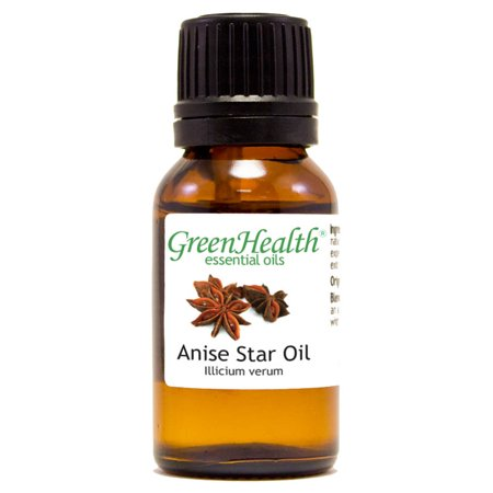 Anise Star Essential Oil - 1/2 fl oz (15 ml) Glass Bottle w/ Euro Dropper - 100% Pure Essential Oil by GreenHealth Essential Oil 1/2 Oz Bottle