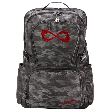 High Supply Classic Backpack Girls Glitter Bookbag | Perfect Bag for Travel, School, Gym, Cheer Practices | 15†Laptop Compartment | Grey Camo with Red Rhinestone Logo Camo/Red Rhinestone