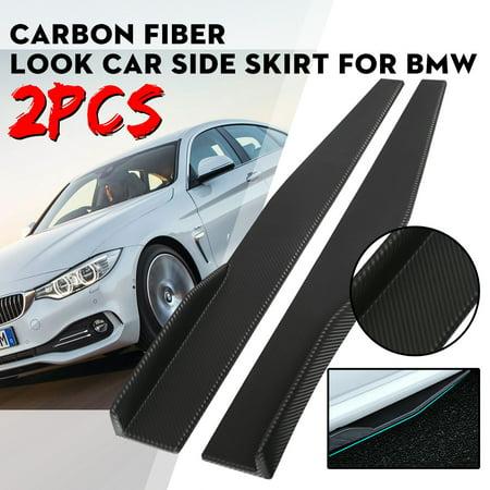 2Pcs Universal Plastic Car Side Skirt Rocker Splitters Winglet Wings Carbon Fiber Style