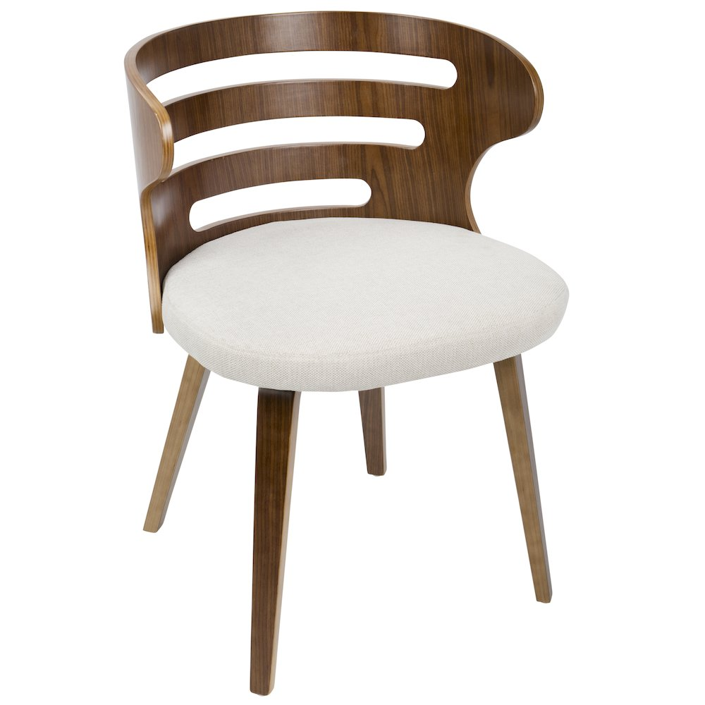 Cosi Mid-Century Modern Chair in Walnut and Cream Fabric by Lumisource by