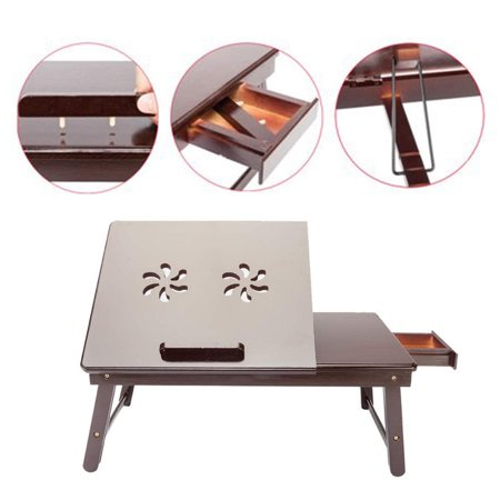 Multi Function Lapdesk Table Bed Tray Foldable Adjustable Breakfast Table Tilting Top with Storage Drawer Bamboo Wood Natural ()