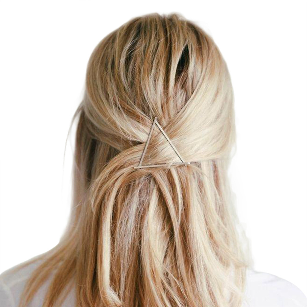 Women Minimalist Dainty Gold Silver Hollow Geometric Metal Hairpin Hair Clip