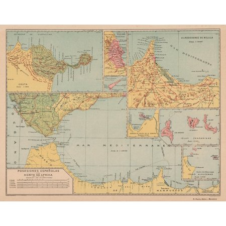 Map Of Spain Detailed.Spain Map Spanish Possessions In N Africa Martin 1903 29 38 X 23