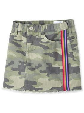 Camo Print Side Stripe Skirt (Big Girls)