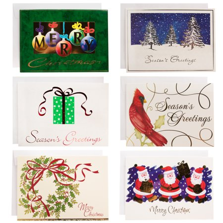 Designer Greetings 72 Count Assorted Greeting Cards With Envelopes Card Assortment Holiday Season's Greetings Merry Christmas Cards Bulk ()