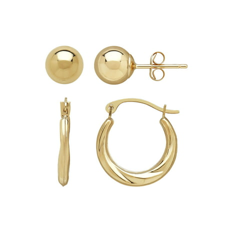 10kt Yellow Gold 6mm Ball Stud And Round Swirl Hoop Earrings Set