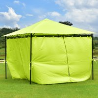 Gymax 10' x10' Patio Green 4 Side Walls Bright Tent Gazebo Canopy Shelter