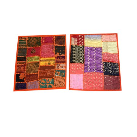 Mogul Square Patchwork Embroidered Cushion Cover Indian Home Decor Greem Pillow Cases 16x16 Patchwork Square Pillow