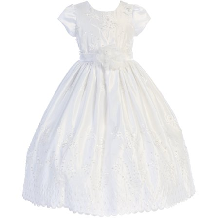 Little Girl Short Sleeve Formal Holy First Communion Flower Girl Dress White 4 CB 1915