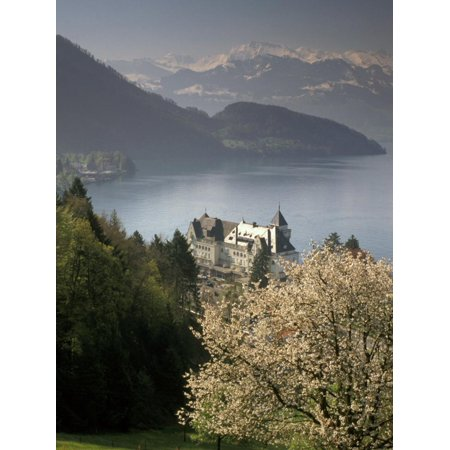 Lucerne Large Wall (Large hotel with mountain in background, Lake Lucerne, Switzerland Print Wall Art By Alan)