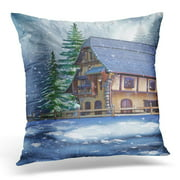 BSDHOME Blue House Colorful Cottage in Snowy Winter Forest Ice Throw Pillow Case Pillow Cover Sofa Home Decor 16x16 Inches