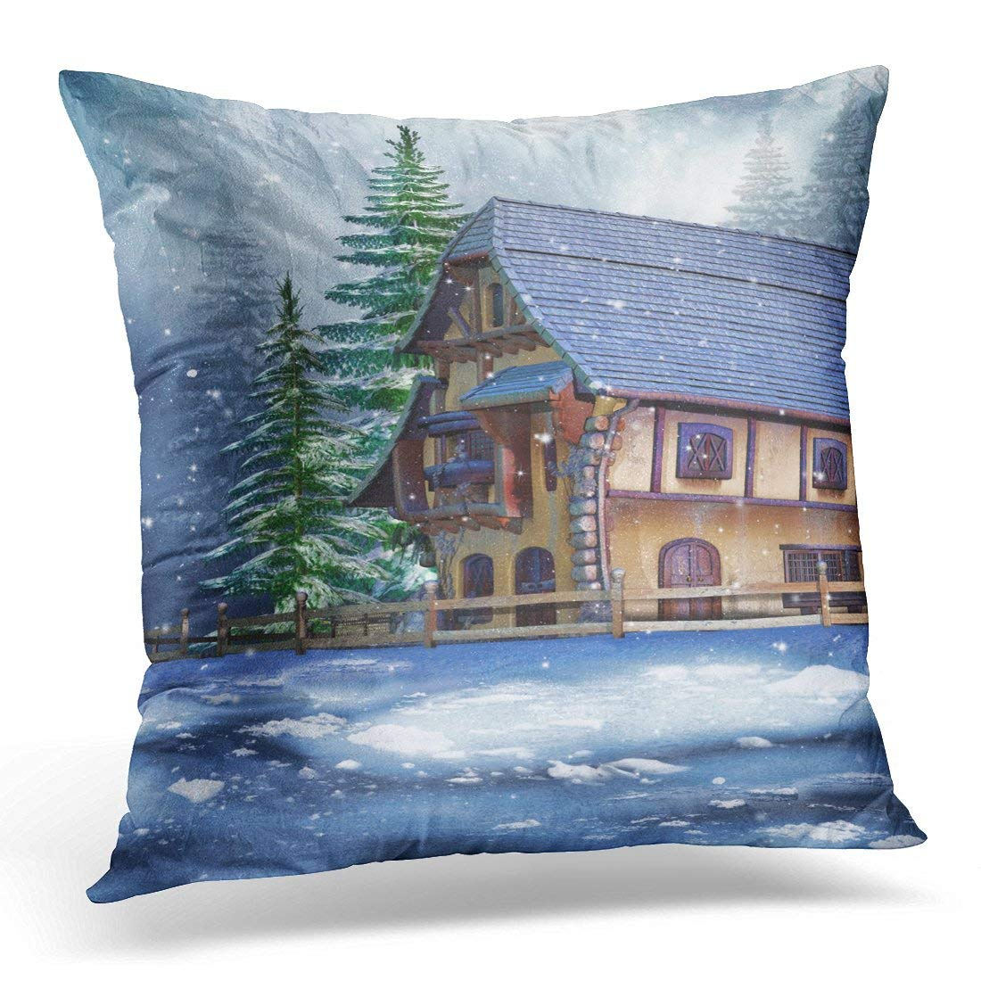 CMFUN Blue House Colorful Cottage in Snowy Winter Forest Ice Throw Pillow Case Pillow Cover Sofa Home Decor 16x16 Inches