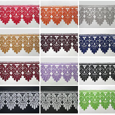 """3"""" Black White Ivory Burgundy Blue 12 Colors Venice Lace Trim Guipure By Yardage"""